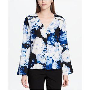 Calvin Klein Blue Floral Bell Sleeve Blouse Women